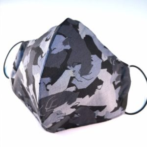 Munskydd, gråsvart camouflage, 3 lager 100% bomull