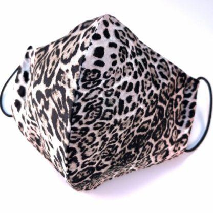 Munskydd, leopardmönstrad, beige-svart, 3 lager 100% bomull