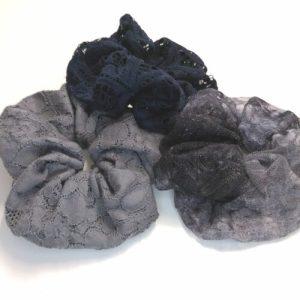 Scrunchies i 3-pack, Mörk spets