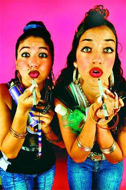 "Laura Di Lorenzo (left) and Mimi Davila have taken Miami by storm with their song ""Chongalicious"""