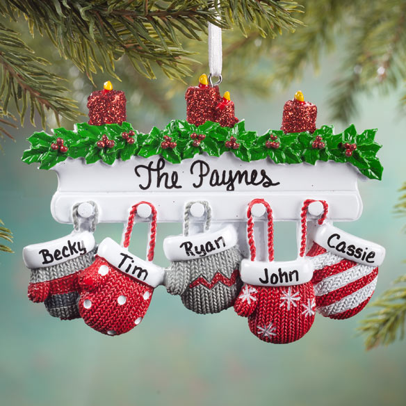 Personalized Family Mittens Ornament Holiday Ornament