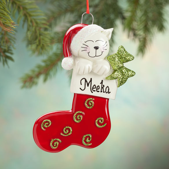 Personalized Happy Cat Stocking Ornament Miles Kimball