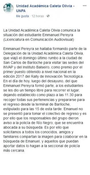 Buscan a Emmanuel Pereyra,viajó a Bariloche y desapareció.