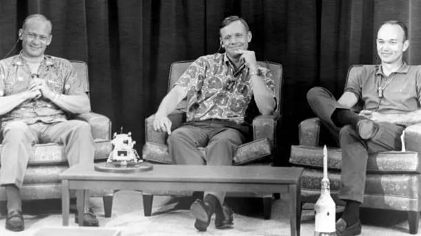 Aldrin, Armstrong y Collins unos días antes de partir con el Apollo 11