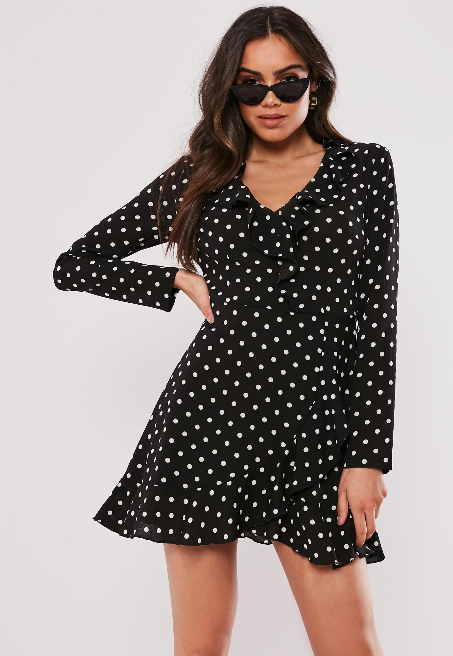 black polka dot ruffle tea dress