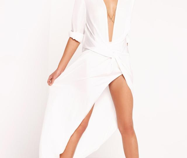 Wrap Front Shirt Maxi Dress White