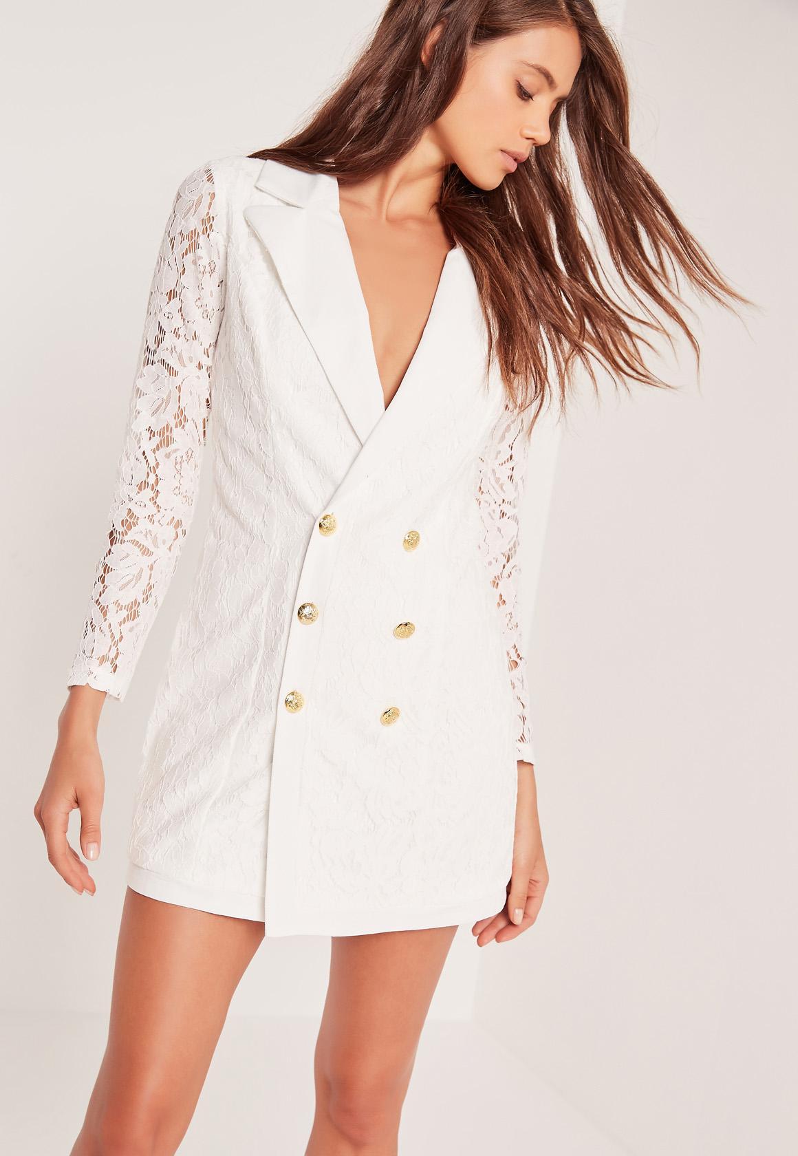 Lace Blazer Dress White Missguided