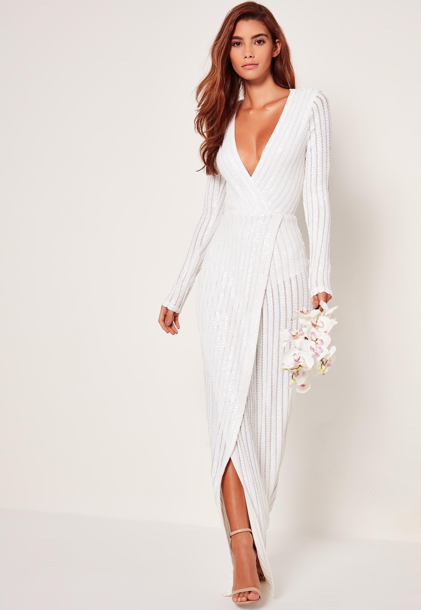Bridal Sequin Stripe Wrap Maxi Dress White Missguided