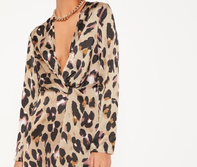 Animal Print Silky Plunge Wrap Shift Dress