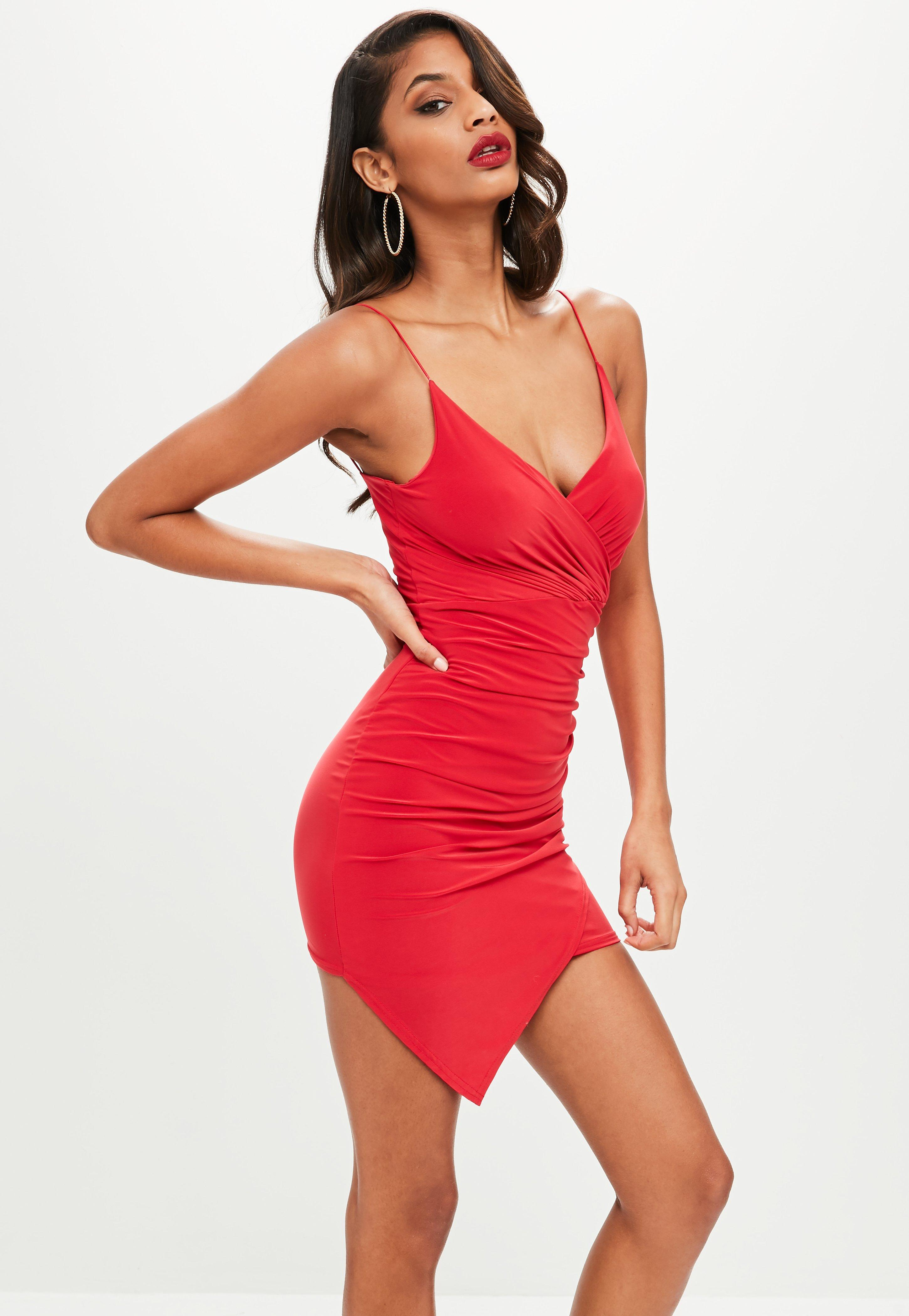 Red Slinky Wrap Dress Missguided