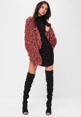 Cardigan rouge style moumoute