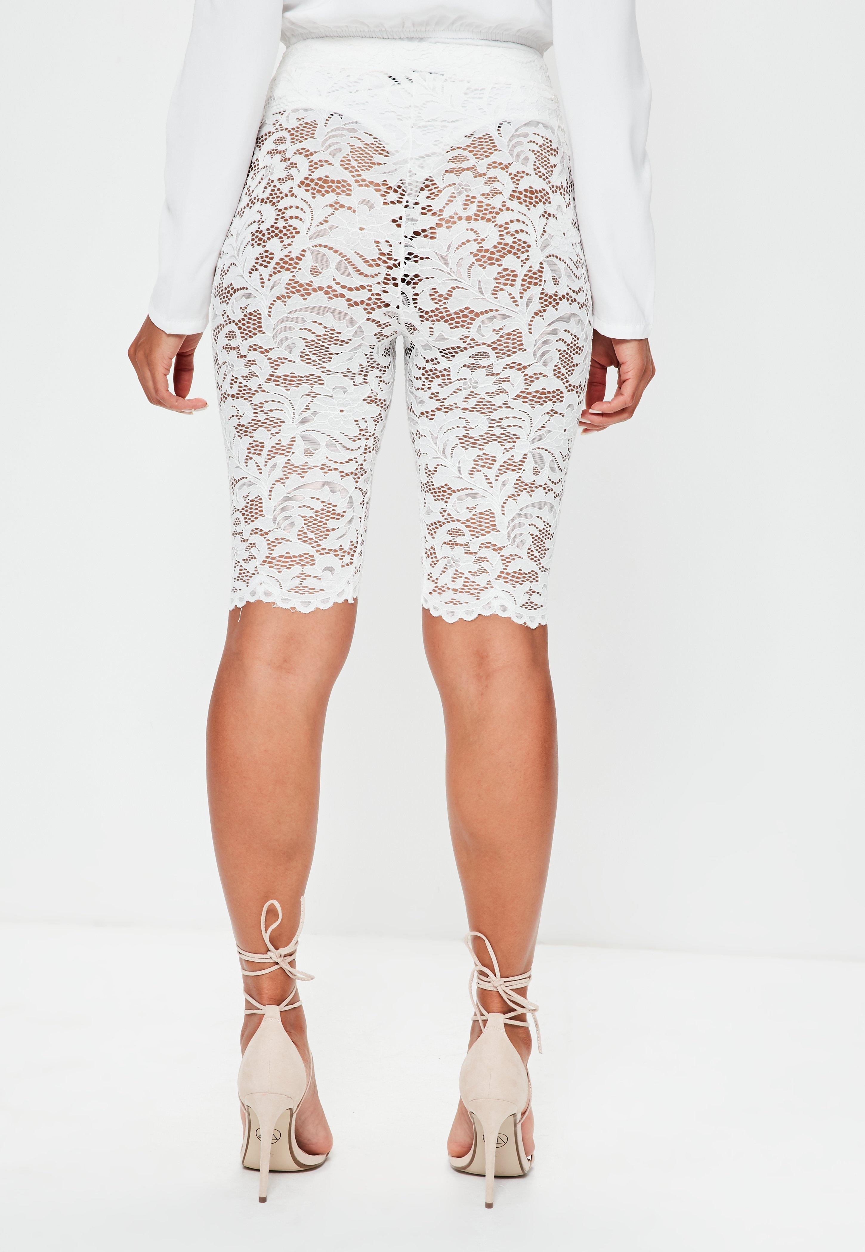 White Lace Cycling Shorts Missguided