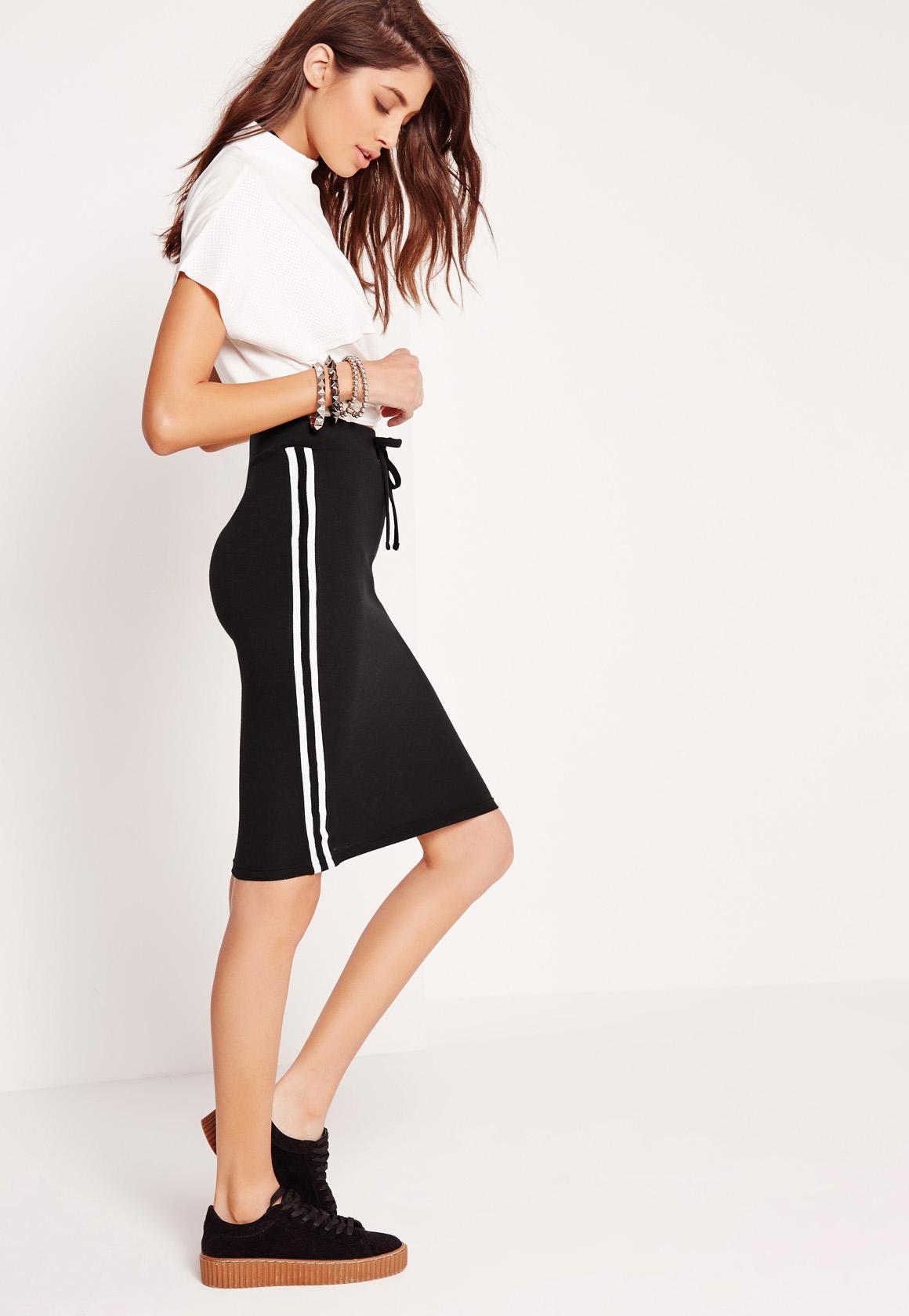 Side Stripe Pencil Skirt Black Missguided