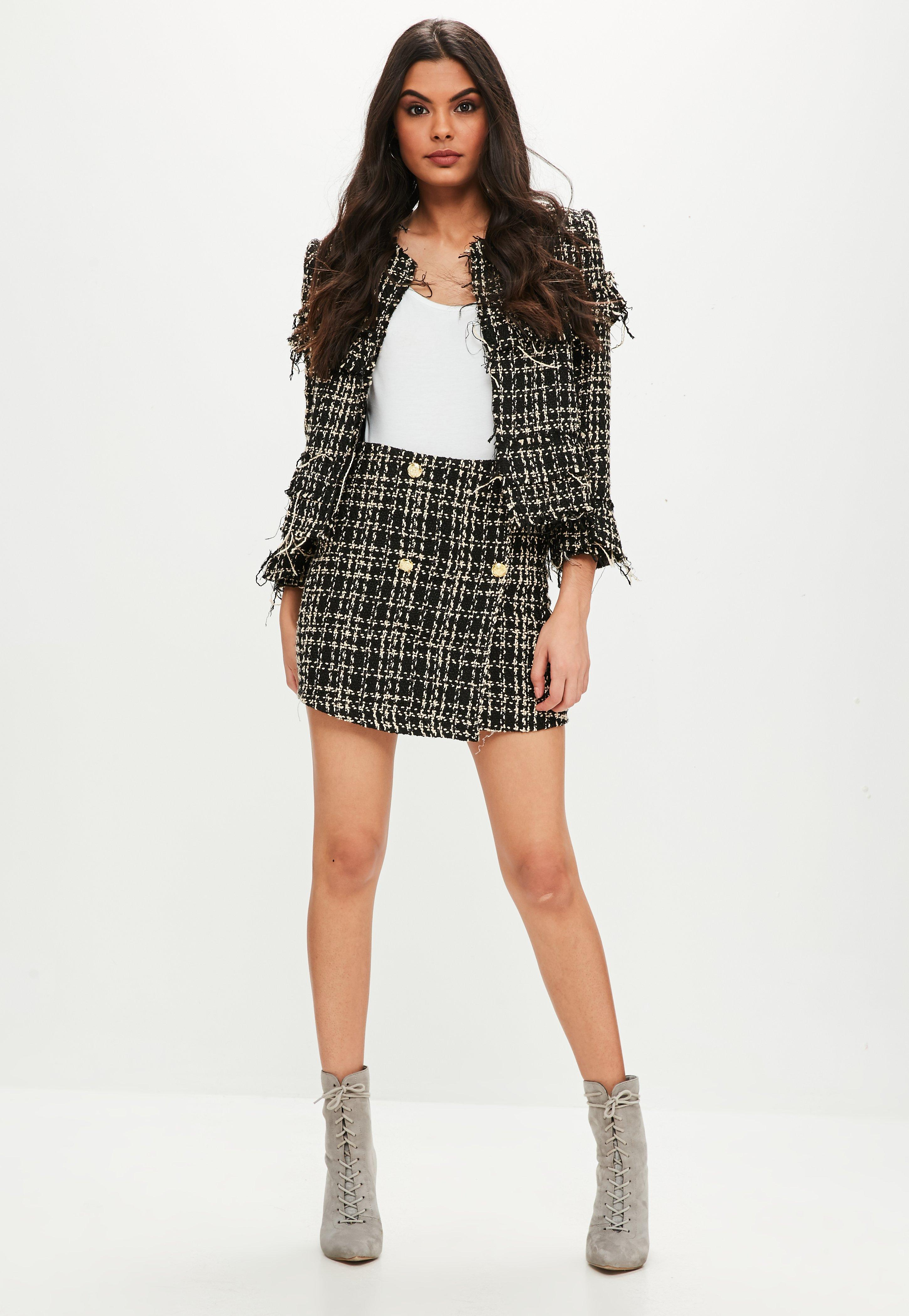 Black Boucle Military Mini Skirt | Missguided