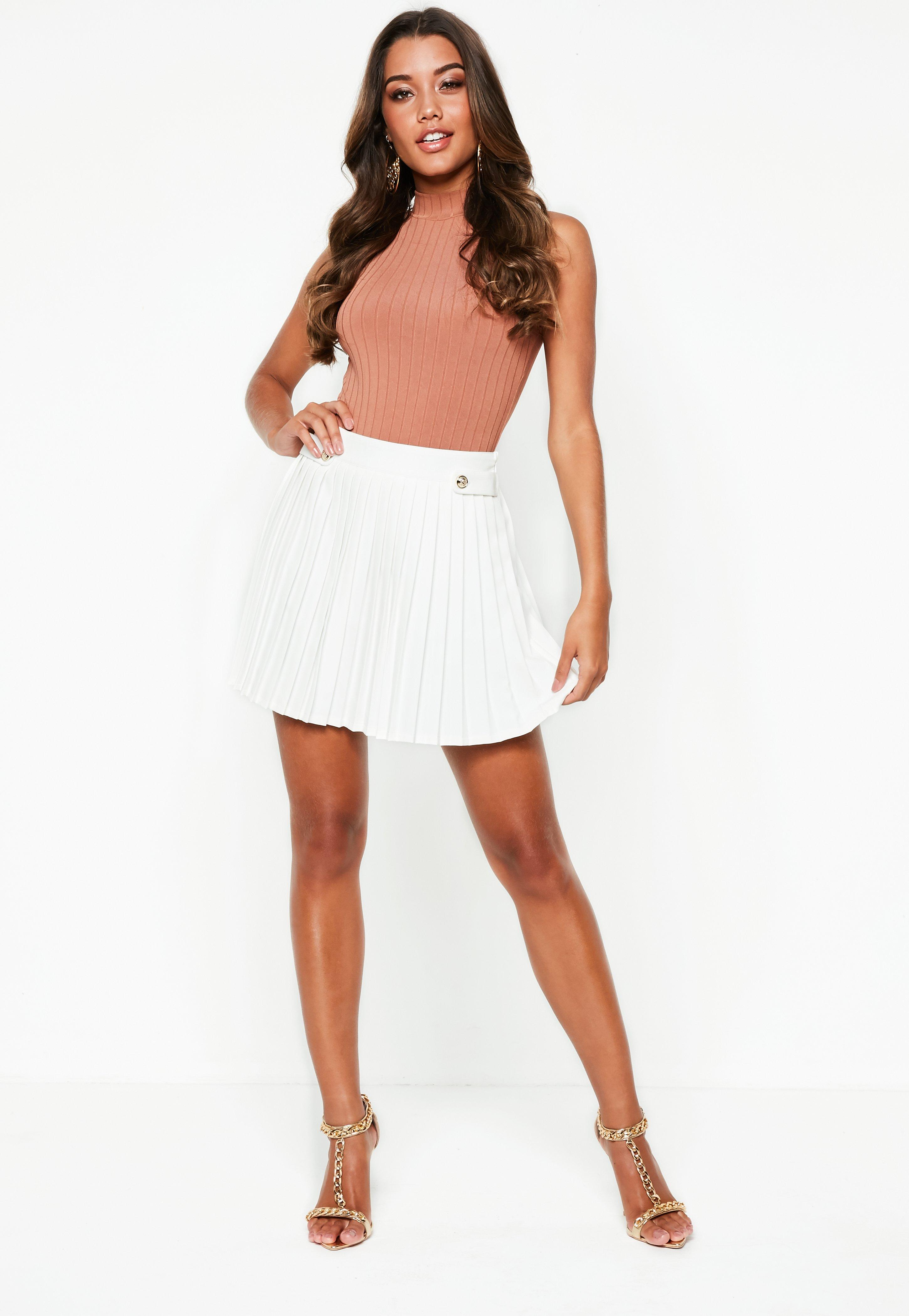 White Pleated Military Button Mini Skirt | Missguided