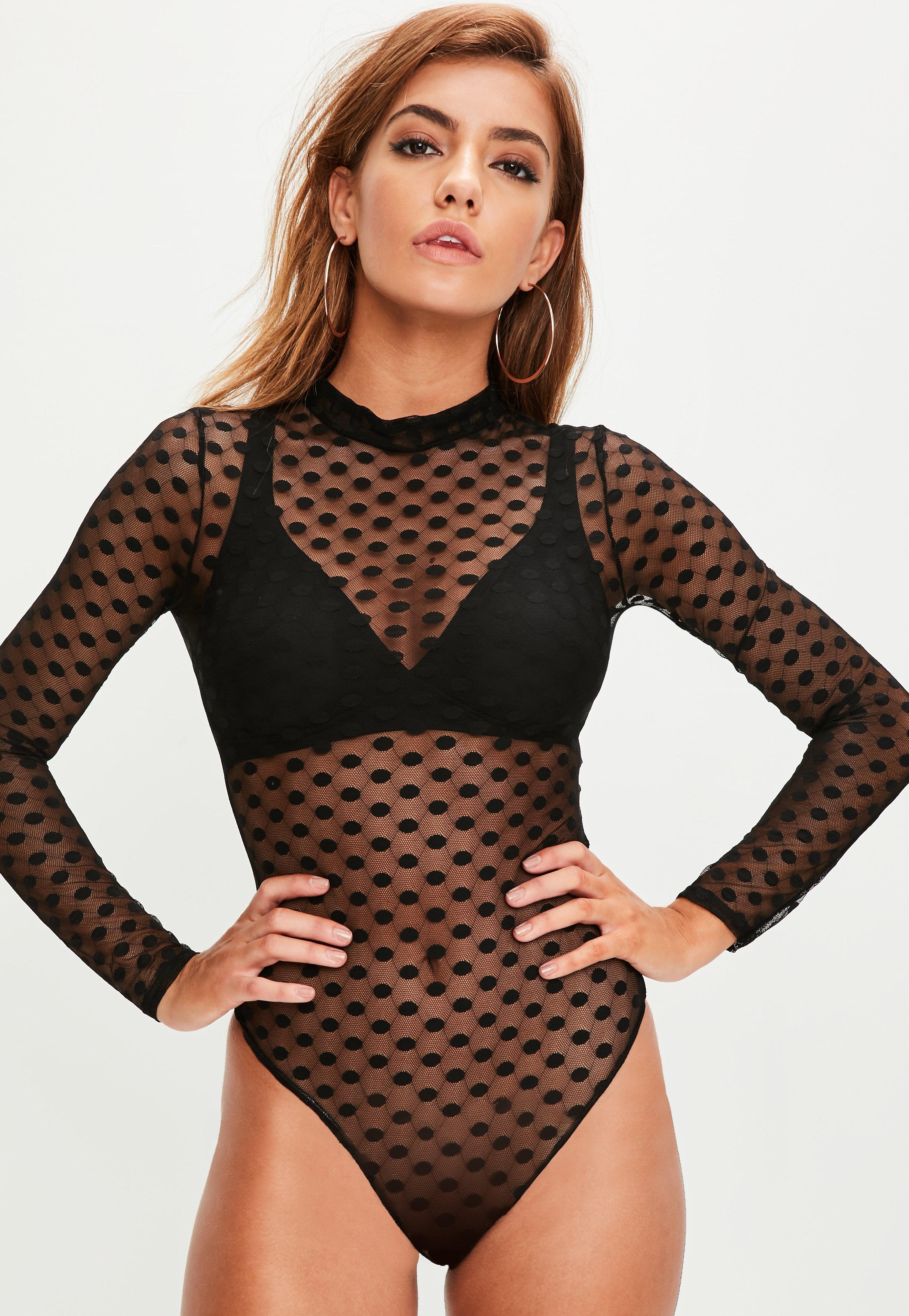 Black Mesh Polka Dot Bodysuit Missguided