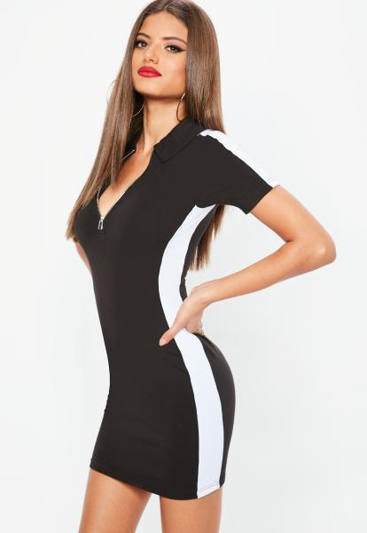 T Shirt Dresses   Printed   Slogan T Shirt Dresses   Missguided Petite Black Zip Colorblock Rugby Dress