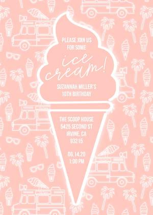neon ice cream birthday party girls birthday party invitations