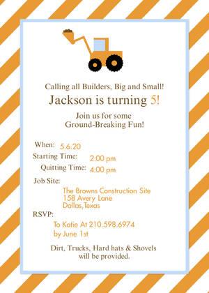 construction party boys birthday party invitations