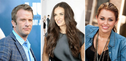 L-R: Thomas Jane, Demi Moore, & Miley Cyrus, stars of LOL: Laughing Out Loud