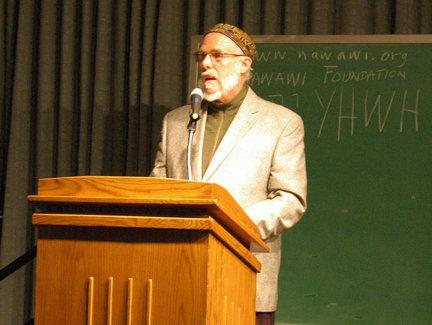 Estudioso islâmico Omar Faruq Abd-Allah fala em Bernhard Western Michigan University's Center.