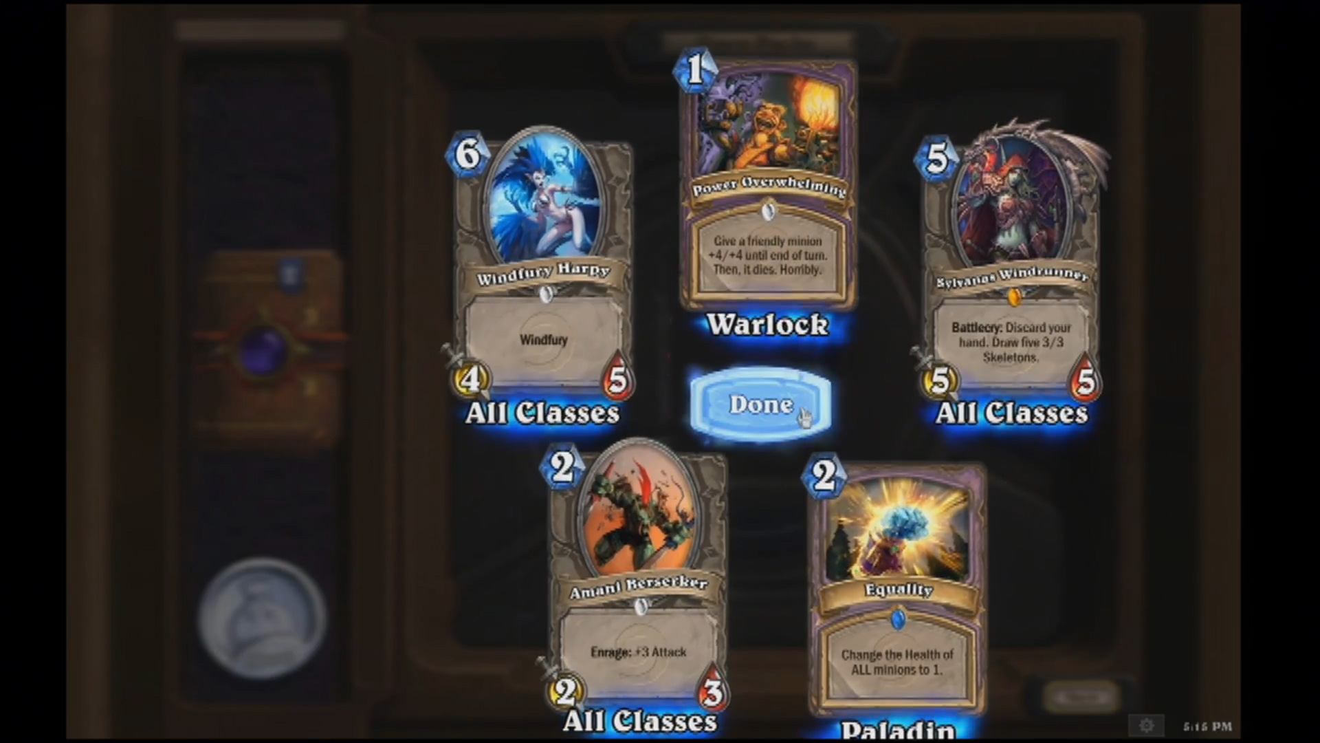 Opening a booster pack in Hearthstone: Heroes of Warcraft