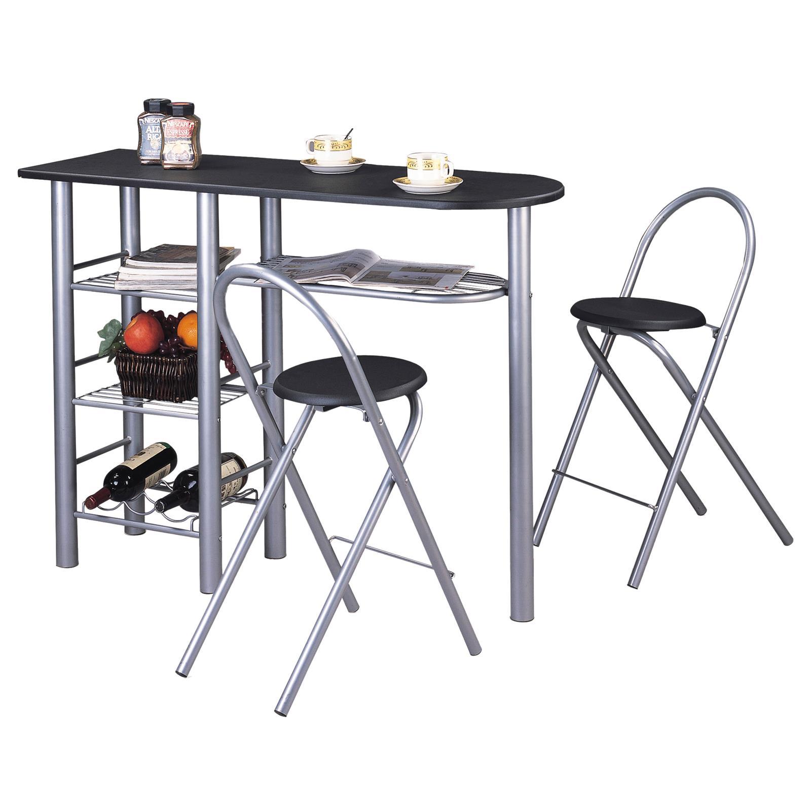 Ensemble Table Haute De Bar Et 2 Chaises STYLE Noir Mat