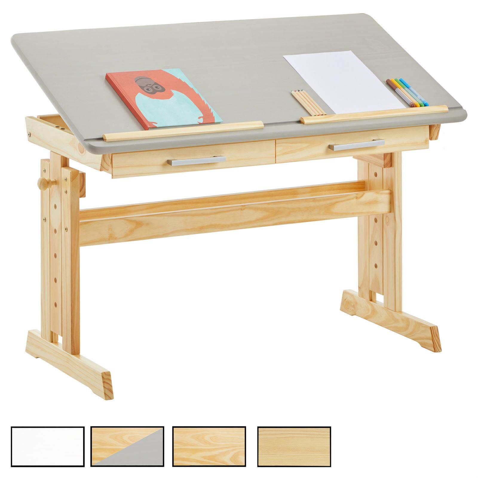 bureau enfant olivia en pin massif reglable en hauteur et plateau inclinable