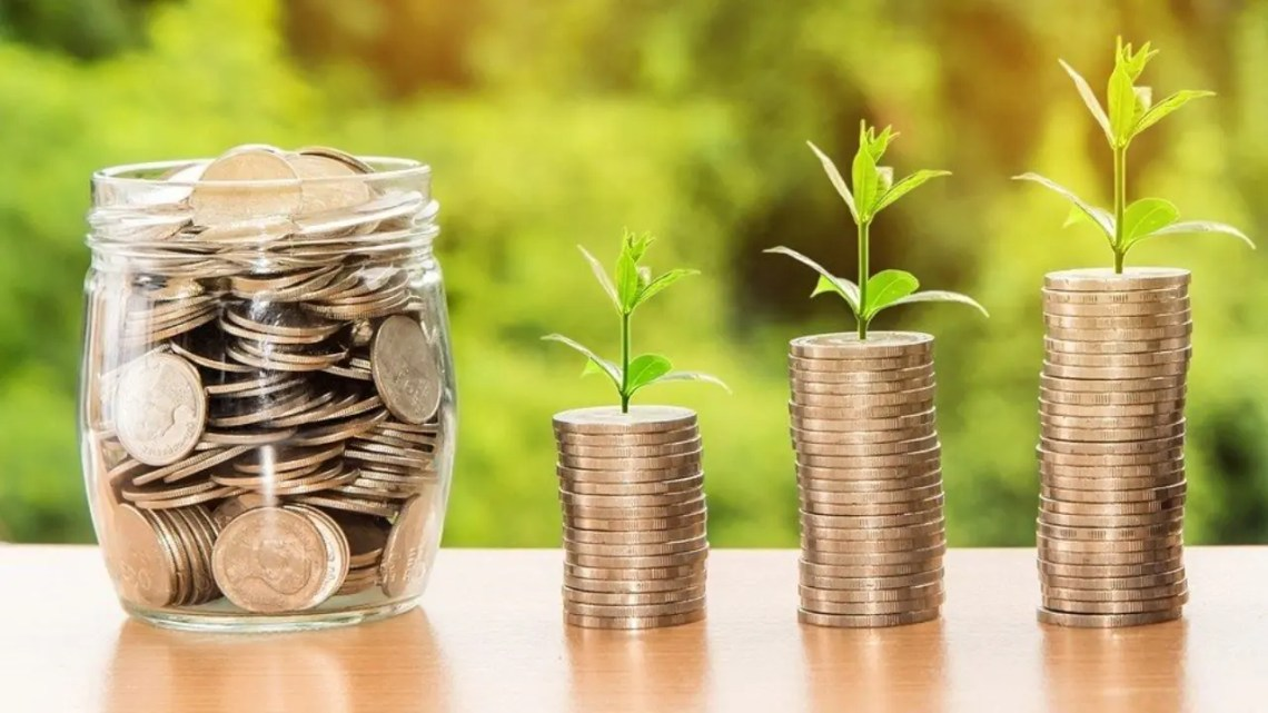 Photo of coins and growing plants representative of using copywrtiting to make your site a money maker