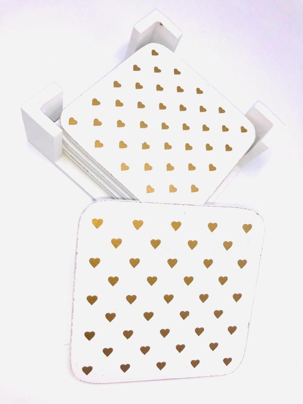 Presentpåse: Glasunderlägg i trä 4-pack med hållare