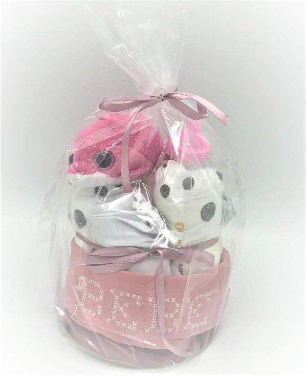 Startpaket bebis - blöjtåerta Rosa/vit