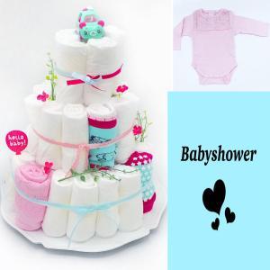 Blöjtårta XL till Babyshower Rosa/turkos