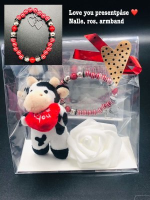 "*Moments by Rexlind* Armband med ros, nalle ""I love you"""