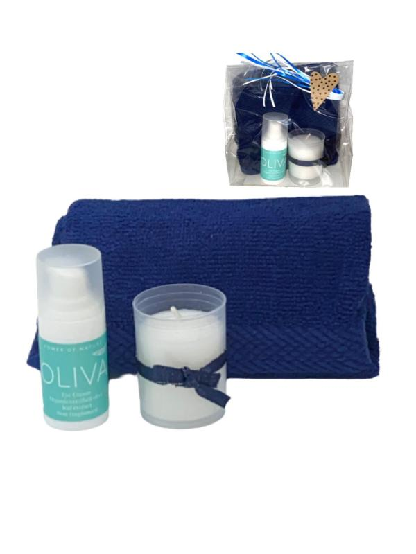 Presentpåse - Oliva ögoncreme, handduk, ljus
