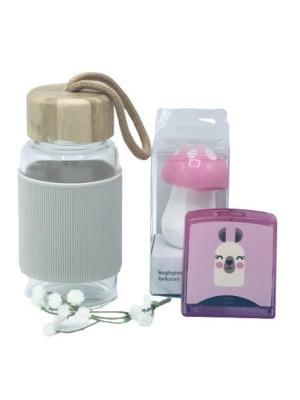 Presentpåse - vattenflaska, stämpeldyna och penna