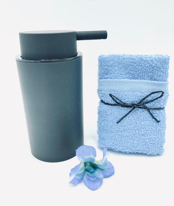 Presentpåse - tvålbehållare, frotté, blomma