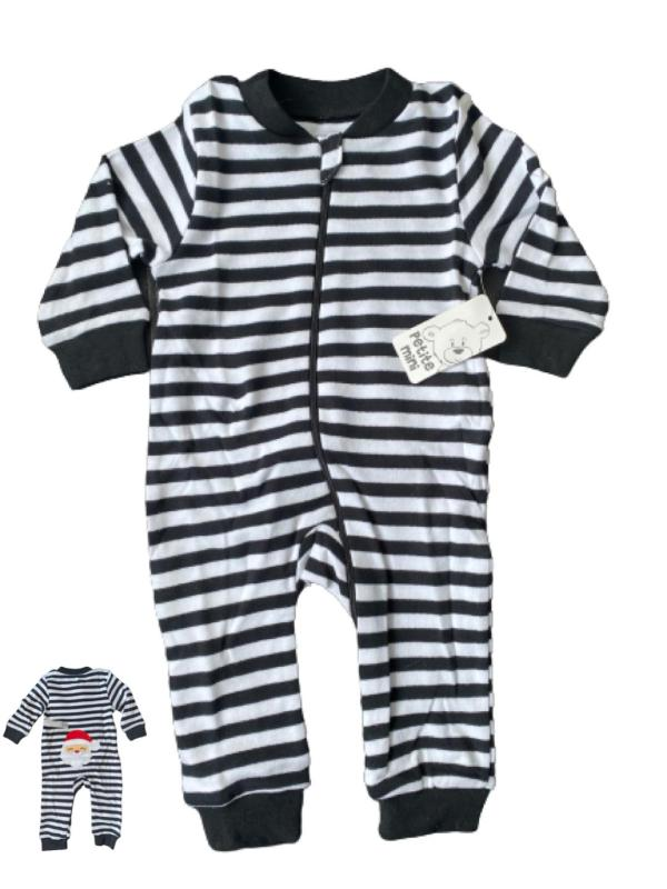 Svart vit randig pyjamas - tomte jul stl 56