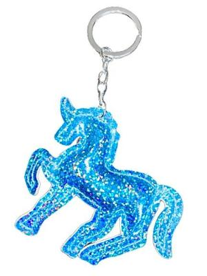 """Nyckelring """"Unicorn"""" blå hologram glitter"""