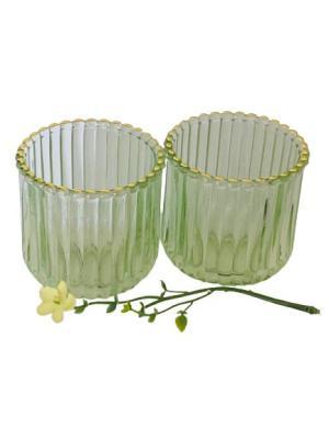 Glaslyktor grön/guld 2 st