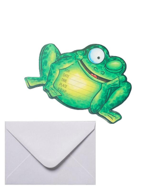 "Inbjudningskort kalas 6 pack ""Frog"""