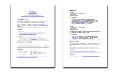 Free Templates For Skill Based Cv - Catherine'S Career