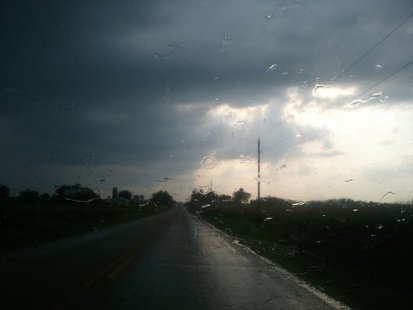 Heavy rain between Clintonville and Marion on July 25, 2012. (courtesy of FOX 11/Wayne Gauger)