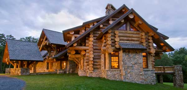 Aesthetics of the log cabin for Log and stone house