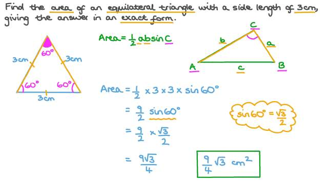 Using the Trigonometric Formula for Area of Triangles to Find the Area of  an Equilateral Triangle