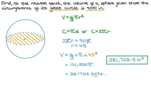 Finding the Volume of a Sphere given the Circumference of Its Great Circle