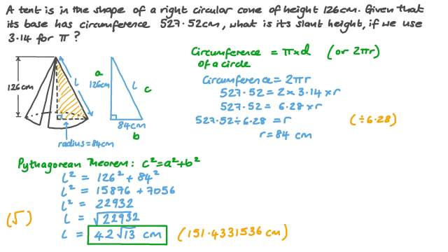 Finding the Slant Height of a Cone in a Real-World Context