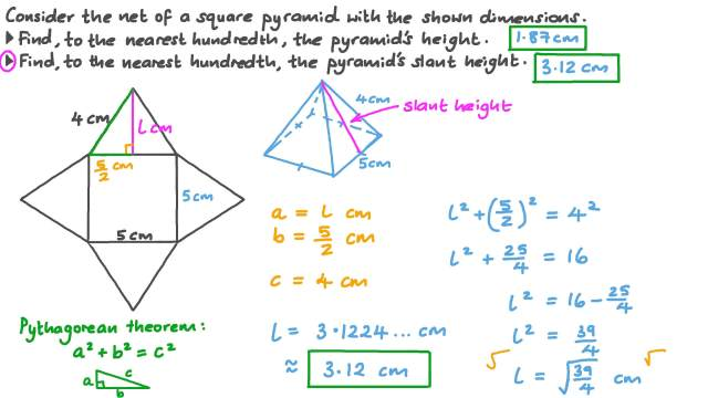 Calculating the Height and Slant Height of a Square Pyramid
