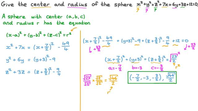 Finding the Center and Radius of a Sphere Given Its Equation