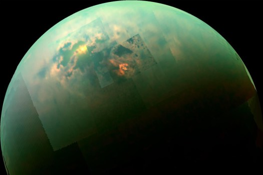 Sunlight reflects off lakes of liquid methane around Titan's north pole.
