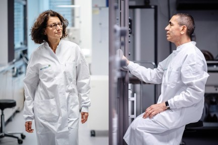 Diptych of Özlem Türeci walking through a laboratory and Ugur Sahin working at a fume cupboard in a laboratory